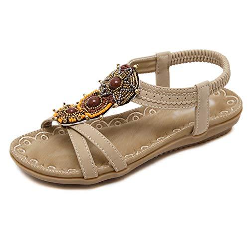 Comfort Donna Flat Size Plus Estate Beach Soft Sandali On Casual Travel Albicocca Bohemian Slip Shoes zU75qznF