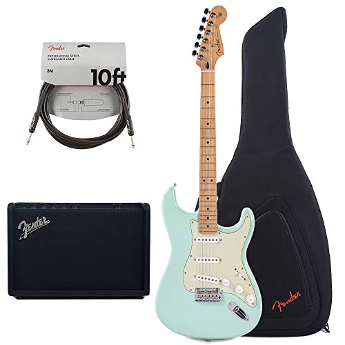 (Fender Player Stratocaster Surf Green w/3-Ply Mint Pickguard (CME Exclusive) Essentials Bundle)