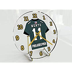 Football Team Desktop/Shelf Clocks - All N F L Colors Available - Size 7 X 7 X 2 Any Name Any Number Any Team !! (P H I Edition)