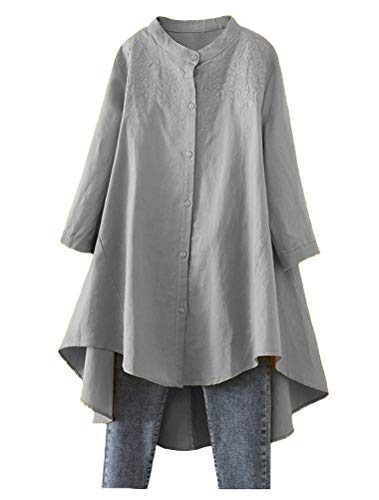 Minibee Women's Cotton Linen Shirt High Low Button Down Embroidered Blouse Long Sleeve Tunic Tops