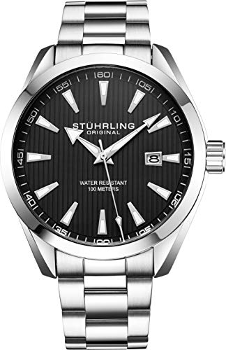 Stuhrling Original Mens Black Watch Analog Dial with Date - Stainless Steel Silver Bracelet, 3953 Mens Watches Collection