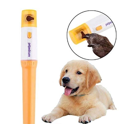 Electric Premium Pet Claw Toe Nail Trimmer Tool Claw Care Grinder Clipper Grooming Tool- Completely Painless, Easy and Safe - Durable Design - Great for Cats and Dogs (Small - Medium) - 100% (yellow) by PJZM