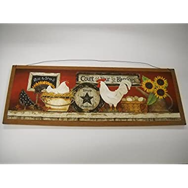 Rooster Count Your Blessings Rise and Shine Sunflowers Kitchen Wooden Wall Art Sign Country
