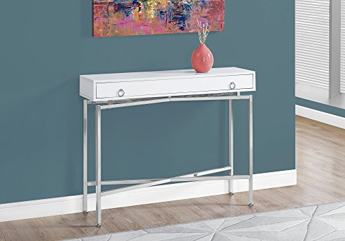 Monarch Specialties I 2443 Glossy/Chrome Hall Console Accent Table, 42