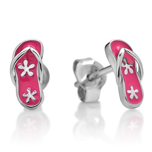 Children's 925 Sterling Silver Flip-Flop Sandals Pink Flower 9 mm Post Stud Earrings