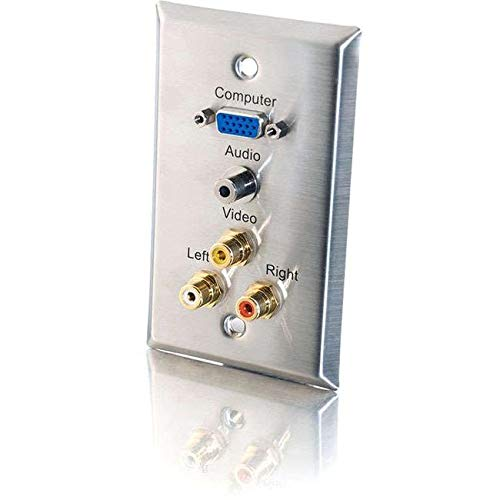 Single Gang HD15 VGA + 3.5mm + Composite Video + Stereo Audio Wall Plate - Stain