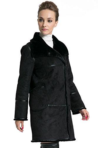 Ovonzo Doble Piel de Chic Chaqueta Sintética de y de Gamuza Abrigo Botonadura Mujer Negro Suave Para rCvrnxAq