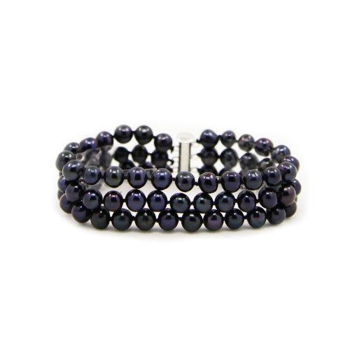 negro cm 5 a de 1 color de 6 Brazalete 19 filas 3 cultivadas mm 7 perlas con perlas 4n7qFw