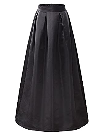 1940s Formal Dresses, Evening Gowns History KIRA Womens Elastic High Waist A-line Flared Maxi Skirt… $35.99 AT vintagedancer.com