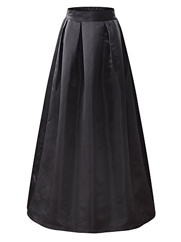 VETIOR Women's Elastic High Waist A-line Flared Maxi Skirt(X-Large,Black) - Satin Skirt Flare