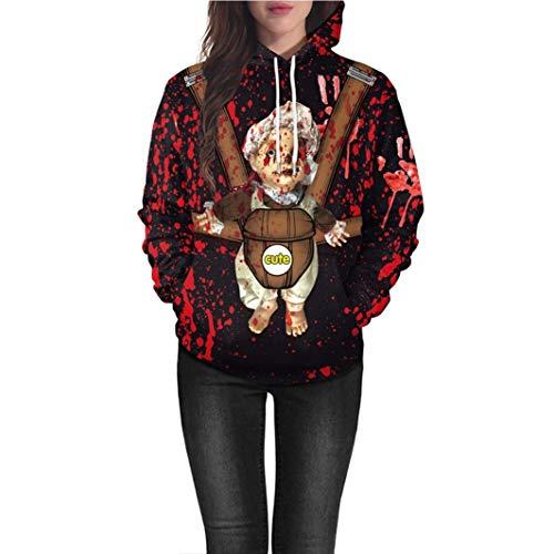 Women Costume Halloween Sweatshirt Grimace Pumpkin Moon Bat Print Party Hoodie(F,Large) -