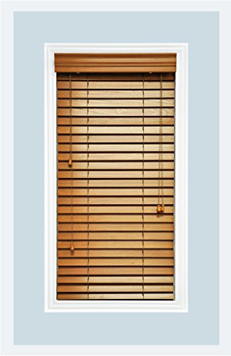 Custom Made Premium Real Wood Horizontal Window Blinds 2 Slats Golden Oak Inside Mount