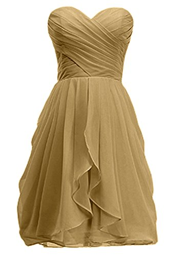 Prom Daughter Ruffles KekeHouse® Sweetheart Pleated Short Bridesmaid Mother Dress Flower Gown Girl's Backless golden Dress Knee Long q78Rgq