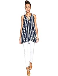 Women's Rancho Mirage Lace-Up Tunic Navy Stripe Breeze Blouse