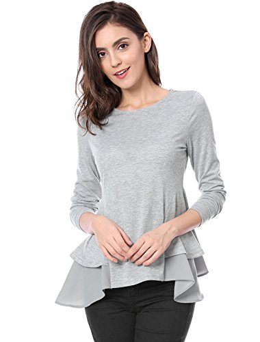 Allegra K Women's Crew Neck Chiffon Ruffled Panel Long Sleeves Top L Grey