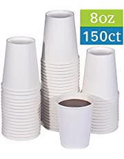 TashiBox Coffee Disposable Hot Paper Cups, 8 oz, White