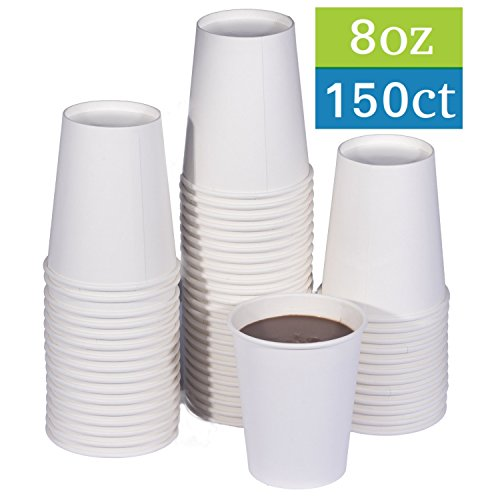 TashiBox 8 oz White Hot Drink Paper Cups - 150 Count - Coffee, Tea, Hot Cocoa - Coffee Hot Beverage