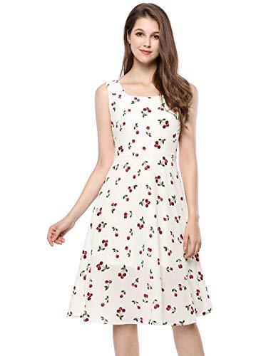 Allegra K Women's Sleeveless Vintage 1950s Swing Cherry Print Midi Flare Dress White L (US 14) ()