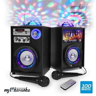 Kit Karaoke autonome - Enceintes LED 100W - USB/SD/BT/FM + 2 Micros - MyDJ My1StKaraoke-V4