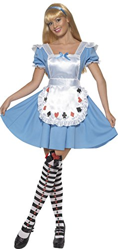Alice In Wonderland Childrens Costumes Uk (Smiffy's Women's Deck Of Cards Girl Costume with Dress, Blue, Large)