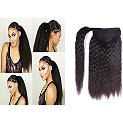 Loxxy Kinky Straight Natural Black ponytail 8A Grade Human Hair Ponytail For Black Women Remy Yaki Straight Human Hair Ponytail Extension One Piece Thick Hair 1B# 100g 14Inch