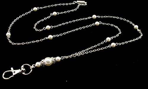 Handcrafted Beaded Lanyards (Women's Fashion Lanyard for ID Badge or Keys- Functional Necklace features White Swarovski Pearls and Silver Textured Chain with Magnetic Breakaway Clasp)