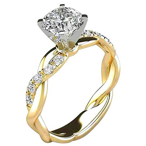 Verlobungsring Eheringe Ring Damen, Zirkonia Silberringe Trauringe Damenring Vorsteckring Hochzeitsringe Antragsring Memoirering Ewigkeitsring Ringe Set, Damen Schmuck(Gold,5)