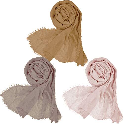 (Wobe 3 Pcs Women Soft Cotton Hemp Scarf Shawl Long Scarves, Travel Sunscreen )