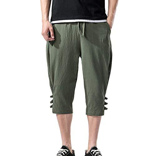 Sumen Men Cotton Linen Wide Leg Pants Breathable Casual Baggy Long Shorts (M, A-Army ()