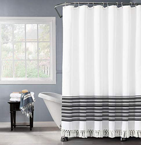 Felisa Black and White Stripe Shower Curtain with Double Knot Fringe,Farmhouse Boho Fabric Shower Curtain for Bathroom…