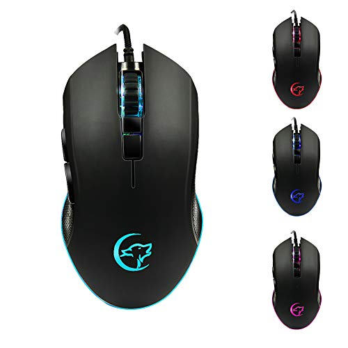 Shentesel Wire Gaming Mouse Colorful Breathing Light 800/1200/1600/2400DPI PC Optical - Black ()