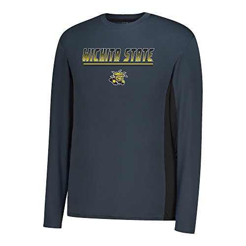 J America NCAA Wichita State Shockers Men's Density Long Sleeve Poly Tee, Charcoal/Black, ()