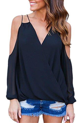 Hueco de profundo escote en v de las mujeres a camisas de moda T Black