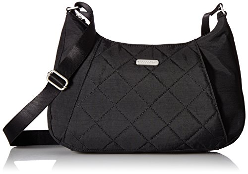 Baggallini Quilted Slim Crossbody Hobo with Rfid, Black Quilt by Baggallini