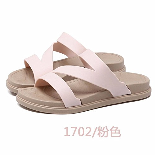 new thick dragging skid slippers Fashion proof Korean British fashion outdoor slippers lady XZ shoes LIUXINDA Pink summer bottom beach version qS8aI
