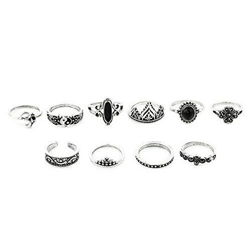 (Crookston HOT!!! Bohemian Vintage Women Silver Elephant Turquoise Finger Rings Punk Ring   Model RNG - 2238  )