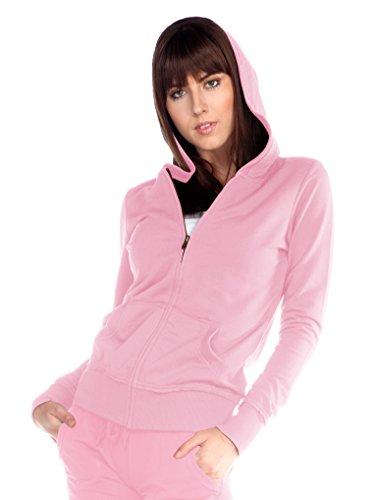 Kavio! Junior Raw Edge Long Sleeve Zip Hoodie Jacket (Regular Length) Baby Pink M