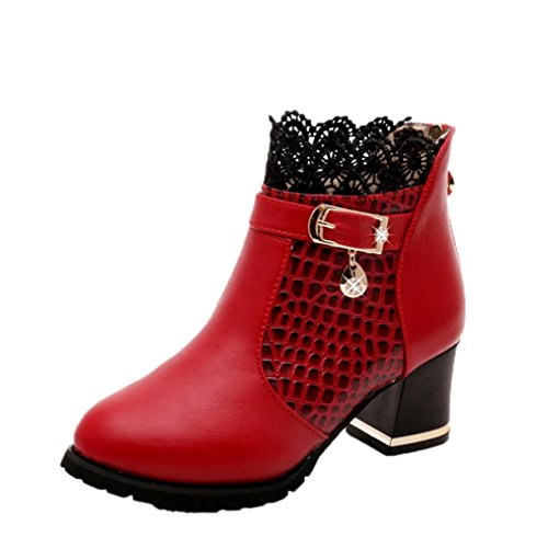 Women Boots, Byste Thick Heel Platform Buckle Shoes Sexy Riding Ankle Boots Red