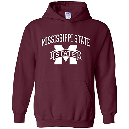(UGP Campus Apparel AH03 - Mississippi State Bulldogs Arch Logo Hoodie - Small - Maroon )