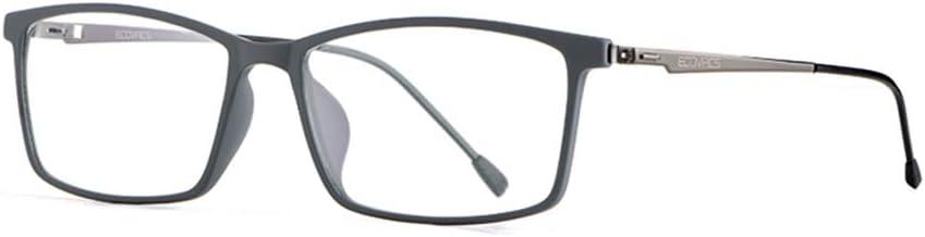 Eyetary Gafas de Lectura ultraligeras Anti luz Azul Hombre - Lente asférica 1.56 índice - Gafas presbicia de Anti-Fatigue Anti-radiación - TR90 Marco Rectangular,GunGrayTemple,+3.00
