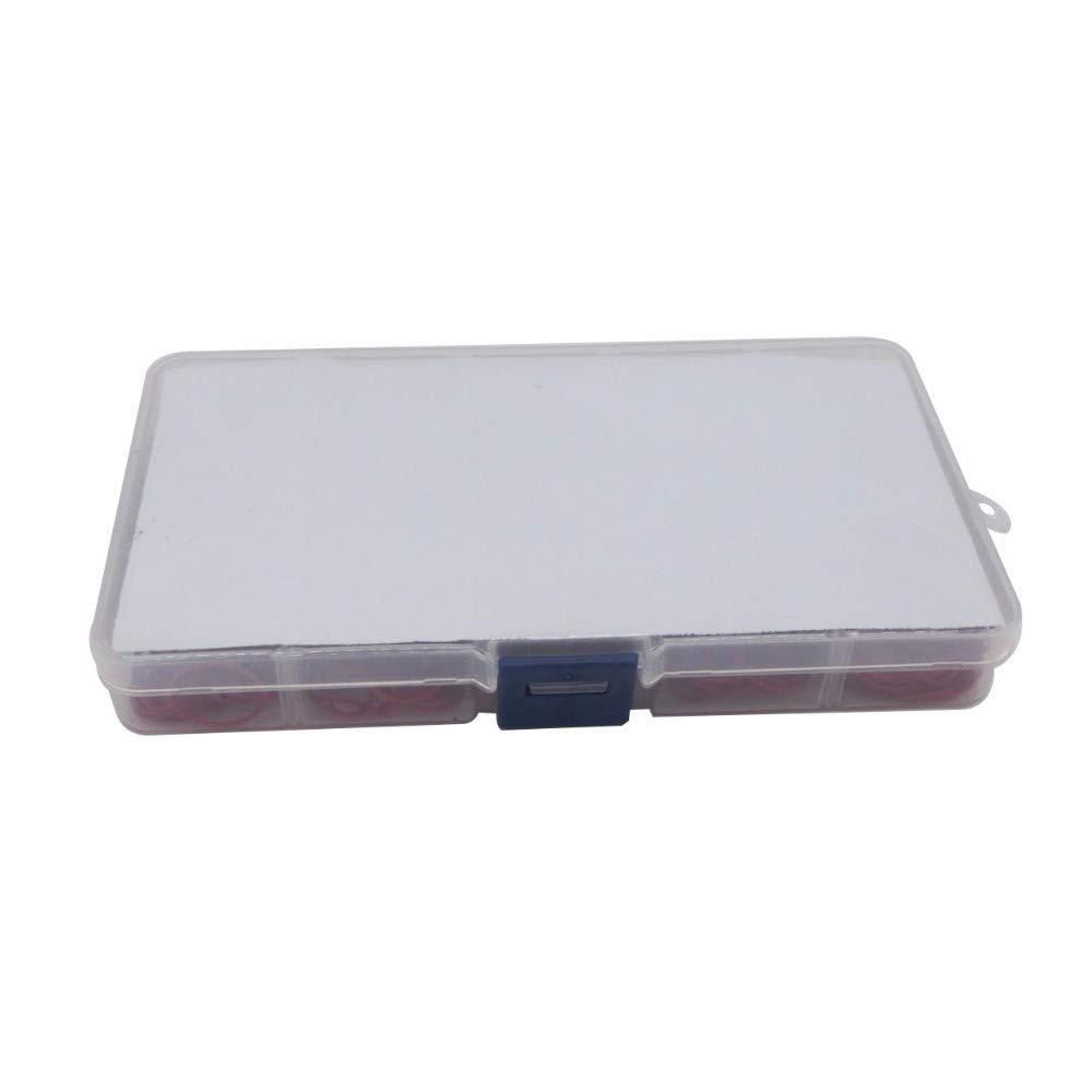 F-MINGNIAN-SPRING 300pcs Red Silicon O-Ring di Tenuta Gasket Kit Spessore 1mm 15 Diverse Dimensioni O-Ring di Tenuta Assortimento Set con Custodia in plastica Taglia : 15 Sizes
