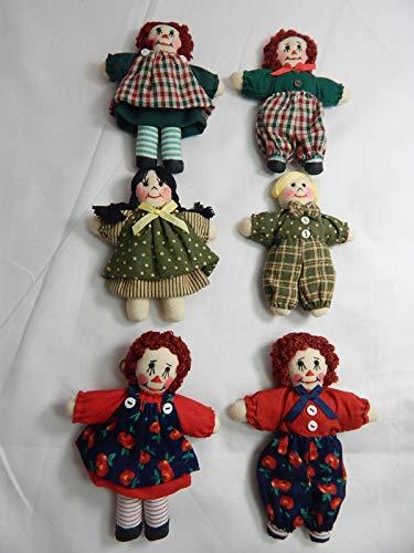 "World of Miniature Bears 3"" Cotton Rag Doll 6 Pcs Set #5900SET C from World of Miniature Bears"