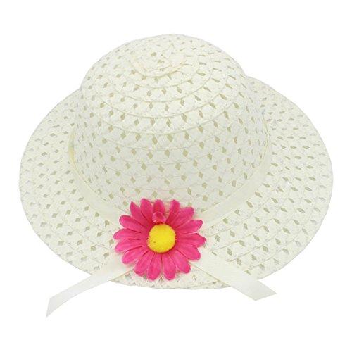 8 couleur sac YOPINDO à de chapeau main sac avec Blanc chapeau crémeux bébé habiller plage paille chapeau main soleil Set à de pqqUHWvx