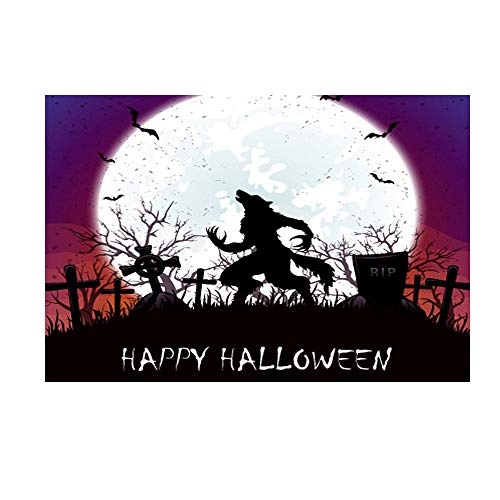 Cinhent Background Photography 3D Backdrops, Vinyl 5 x 3 FT, Festival Party/Home Hotel/Photos / Studio Tools - Party Dessert, Halloween Decoration - Big Wolf Roaring Under Moonlight (150 × 90 cm)