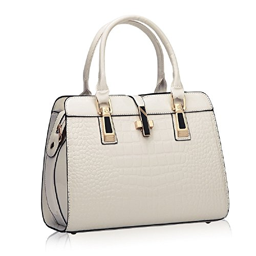 Patent White Bag - Women¡¯s Tote Top Handle Handbags Crocodile Pattern Leather Cross-body Purse Shoulder Bags