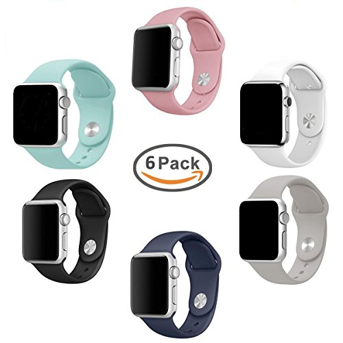 For Apple Watch Band Pack 38mm, amBand Soft Silicone Replacement iWatch Strap Sport Wristband for Apple Watch Series 1, Series 2, Sport, Edition, 6 Colors, S/M Size