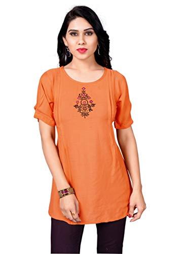 SHREEVA Fashion Casual Embroidered Women Orange Top