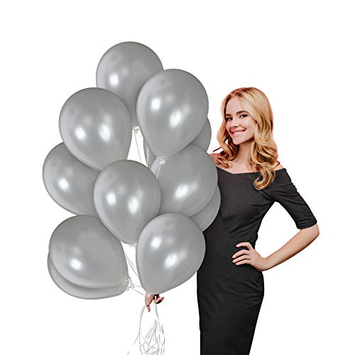 Grey Latex Balloons (Metallic Gray Silver Balloon 100 Pack Christmas Party Balloon Kit 12 Inch Pearlized Thick Grey Latex Decor for Graduation Anniversary Elephant Baby Bridal Shower New Year Eve Party)