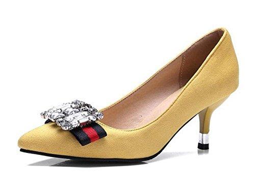 pie ante a apuntó de retro elegancia de de corte con dedo yellow cerrado bombas del Mujeres con GLTER imitación diamantes zapatos tacones altos de de ZapXBqwXg