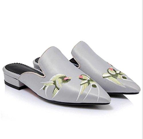 Bas Baotou Sandales À Gray Chaussures Vintage Soie Brodée Femmes Pantoufles Pointu Wsk Talons AgpHqwH